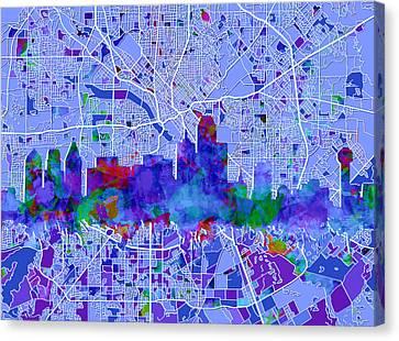 Dallas Skyline Map Blue Canvas Print