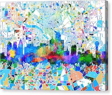 Dallas Skyline Canvas Print - Dallas Skyline Map Color 2 by Bekim Art