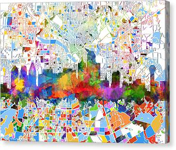 Dallas Skyline Map Color 3 Canvas Print