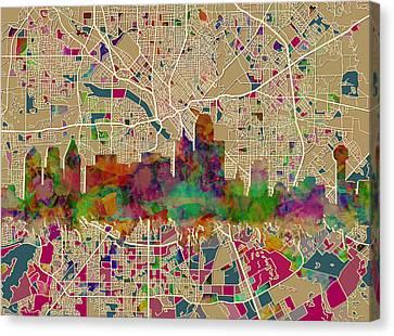 Dallas Skyline Map Color Canvas Print