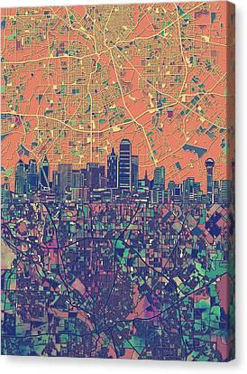 Dallas Skyline Map Orange Canvas Print
