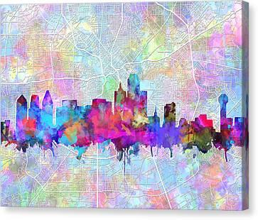 Dallas Skyline Map Purple Canvas Print