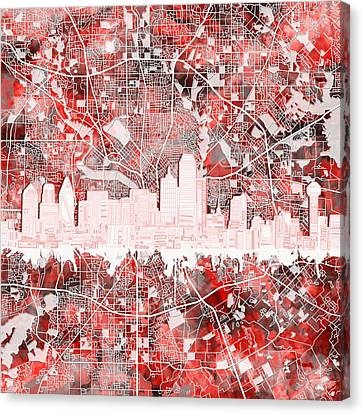 Dallas Skyline Map Red 2 Canvas Print