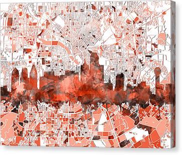 Dallas Skyline Map Red Canvas Print