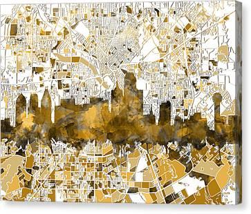 Dallas Skyline Canvas Print - Dallas Skyline Map Sepia by Bekim Art