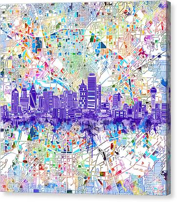 Dallas Skyline Map White 3 Canvas Print