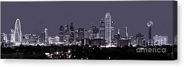 Dallas Skyline Pano Bw Canvas Print by Tod and Cynthia Grubbs