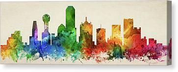 Dallas Skyline Canvas Print - Dallas Skyline Panorama Ustxda-pa03 by Aged Pixel