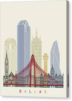 Dallas Skyline Poster Canvas Print by Pablo Romero