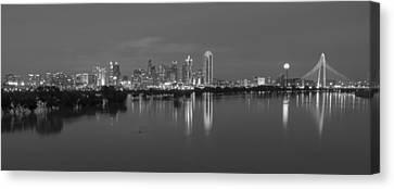 Dallas Skyline Trinity Black And White Canvas Print