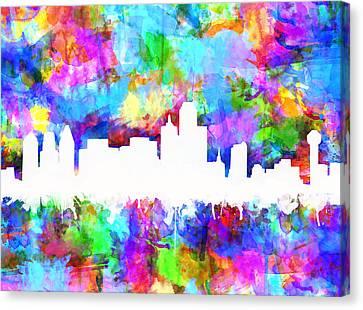 Dallas Skyline Vibrant Colors Canvas Print