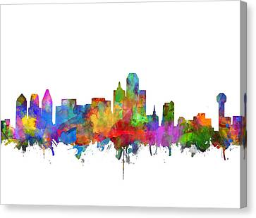 Dallas Skyline Watercolor 7 Canvas Print