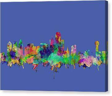 Dallas Skyline Watercolor Canvas Print