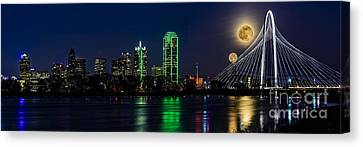 Dallas Skyline With The Strawberry Moon In Panorama Canvas Print by Tamyra Ayles