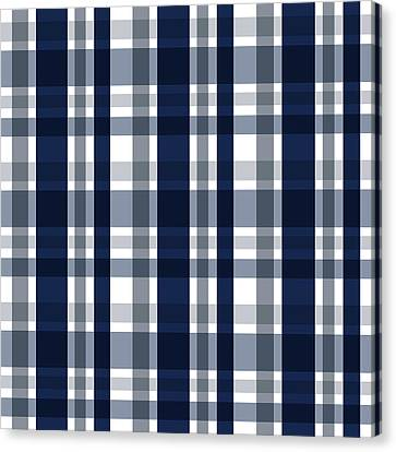 Canvas Print featuring the digital art Dallas Sports Fan Navy Blue Silver Plaid Striped by Shelley Neff