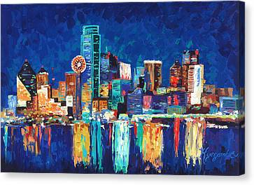 Dallas Texas Skyline 01 Canvas Print by Paul Kyegombe