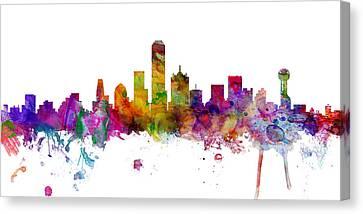 Dallas Skyline Canvas Print - Dallas Texas Skyline Panoramic by Michael Tompsett