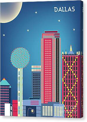 Dallas Texas Vertical Skyline - Nighttime Canvas Print by Karen Young