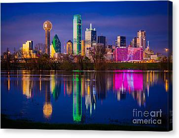 Dallas Trinity River Reflection Canvas Print by Inge Johnsson