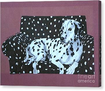 Dalmatian On A Spotted Couch Canvas Print by Terri Mills