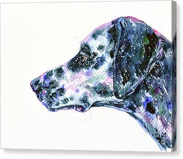 Canvas Print featuring the painting Dalmatian by Zaira Dzhaubaeva