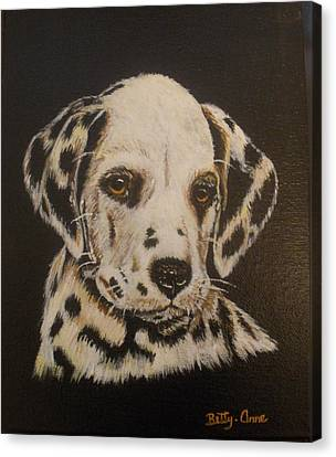 Canvas Print featuring the painting Dalmation by Betty-Anne McDonald
