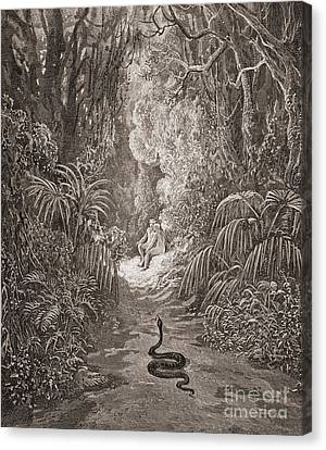 Adam And Eve   Illustration From Paradise Lost By John Milton Canvas Print