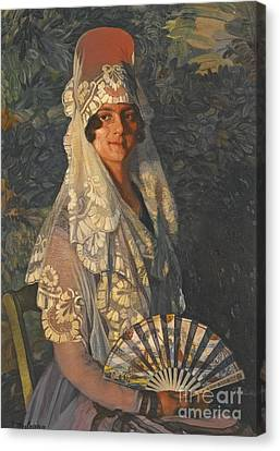 Dama Con Mantilla Y Abanico Canvas Print by MotionAge Designs