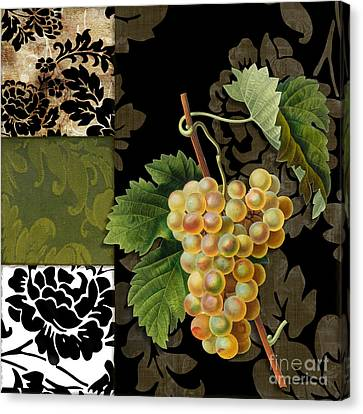 Damask Lerain Wine Grapes Canvas Print by Mindy Sommers