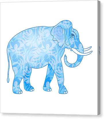 Damask Pattern Elephant Canvas Print by Antique Images