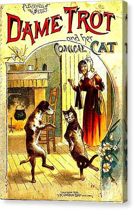 Dog Trots Canvas Print - Dame Trot And Her Comical Cat 1890 by Peter Gumaer Ogden