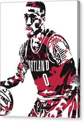 National League Canvas Print - Damian Lillard Portland Trail Blazers Pixel Art 10 by Joe Hamilton