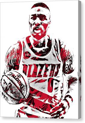 Free Canvas Print - Damian Lillard Portland Trailblazers Pixel Art by Joe Hamilton