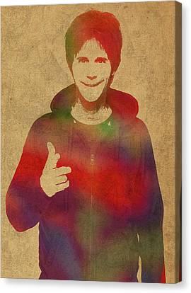 Dana Canvas Print - Dana Carvey Comedian Actor Watercolor Portrait On Canvas by Design Turnpike