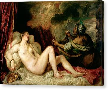 Danae Receiving The Shower Of Gold Canvas Print by Titian