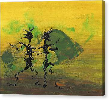 Canvas Print featuring the painting Dance Art Dancing Couple Ix by Manuel Sueess