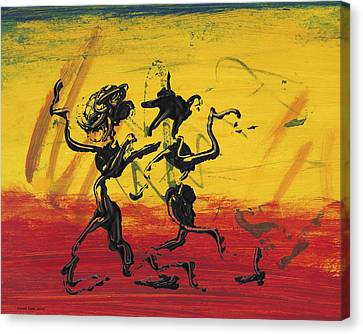 Dance Art Dancing Couple Xii Canvas Print by Manuel Sueess
