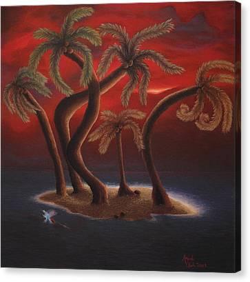 Dance Of The Coconut Palms Canvas Print by Amanda Clark