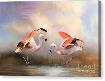 Canvas Print featuring the photograph Dance Of The Flamingos  by Bonnie Barry