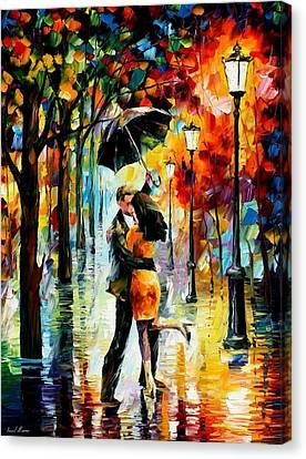 Dance Under The Rain Canvas Print by Leonid Afremov