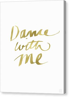 Dance With Me Gold- Art By Linda Woods Canvas Print by Linda Woods
