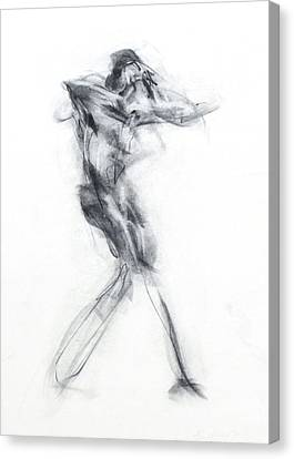 Black And White Human Figure Drawing Canvas Print - Dancer - Intensity by Christopher Williams