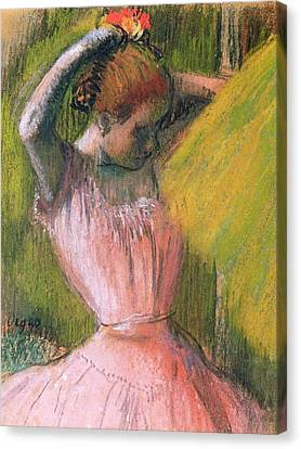 Hairstyle Canvas Print - Dancer Arranging Her Hair by Edgar Degas