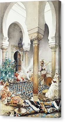 Dancer In A Harem Canvas Print by Gustavo Simoni
