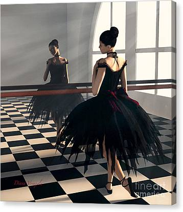 Dancer In Black Canvas Print by Diana Voyajolu