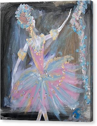 Dancer In Pink Tutu Canvas Print by Judith Desrosiers