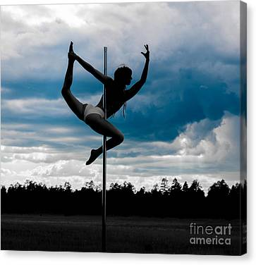 Dancer On A Pole In Storm Canvas Print