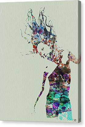 Dancer Watercolor Splash Canvas Print by Naxart Studio
