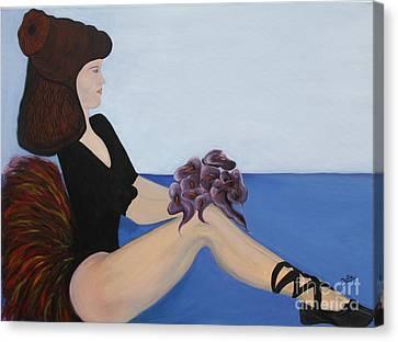 Canvas Print featuring the painting Dancer With Calla Lillies by Jolanta Anna Karolska