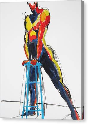 Canvas Print featuring the painting Dancer With Drafting Stool by Shungaboy X